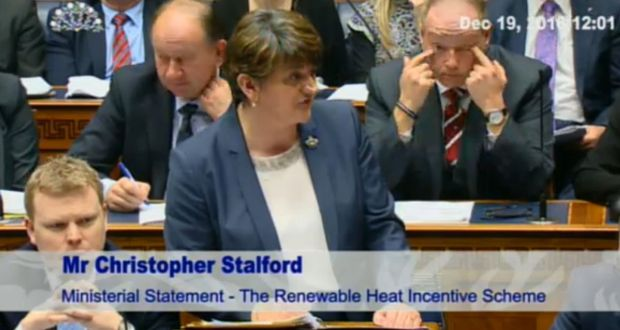 Northern Ireland First Minister Arlene Foster gives a statement on her role in a botched renewable