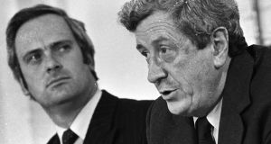 "John Bruton, seen here with taoiseach  Garret FitzGerald, warned of ""serious emerging excesses"". Photograph: Pat Langan"