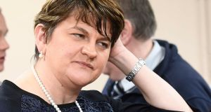 Arlene Foster ruled out stepping aside because she had done nothing wrong, although Robinson had the wit to say he was stepping aside precisely to prove he had done nothing wrong. Photograph: Colm Lenaghan/Pacemaker