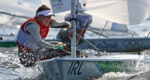Annalise Murphy competes in the Laser Radial Women in Rio de Janerio. Photograph: Getty