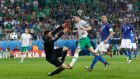 Robbie Brady scores against Italy at Euro 2016 in France. Photograph:  Reuters/Carl Recine