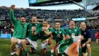 IIreland's Billy Holland, Donnacha Ryan, Simon Zebo, Conor Murray and CJ Stander celebrate after beating the All Blacks in Chicago, the US. File photograph: ©INPHO/Dan Sheridan