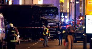 A truck is seen after a crash near the Christmas market in Berlin, Germany. Photograph: Fabrizio Bensch/Reuters