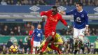 Liverpool's Sadio Mane scores tbe winnin goal. Photograph: Carl Recine/Reuters