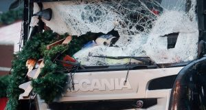 The smashed window of the cabin of a truck which ran into a crowded Christmas market. Photograph: Markus Schreiber/AP