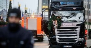 A truck which ran into a crowded Christmas market Monday evening. Photograph: Markus Schreiber/AP