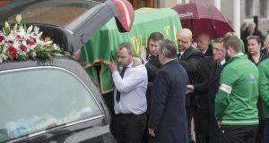 December 2016: The funeral service for murder victim Aidan O'Driscoll in Cork.