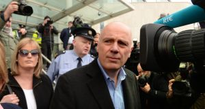 March 2016:  Former Anglo Irish Bank banker David Drumm leaves the Criminal Court in Dublin following his bail application. Photograph: Cyril Byrne
