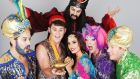 Brian Dowling as the Genie, Donal Brennan as Aladdin, Nadia Forde as Princess Jasmine, Rob Murphy as Buffy, Alan Hughes as Sammy Sausages (and in back row Carl Stallwood as Abbanazar)in  Aladdin at the Tivoli Theatre