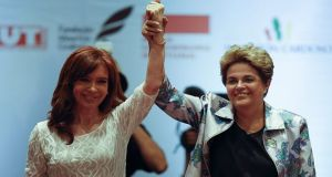 Former presidents Cristina Kirchner of Argentina and Dilma Rousseff of Brazil at the Portugal House in São Paulo. Photograph: Sebastiao Moreira/EPA