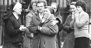 Members of the Loreto order outside the convent on St Stephen's Green as the bodies of the fire victims were being removed. Photograph: Tom Lawlor