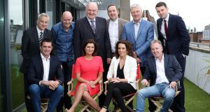 Newstalk presenters: seated from left, Alan Quinlan, Colette Fitzpatrick , Sarah McInerney and Paul Williams; standing from left, Vincent Wall, Seán Moncrieff, George Hook, Shane Coleman, Pat Kenny and Chris Donoghue. Photograph: Maxwell's