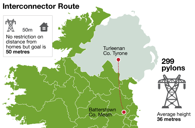 Map Of Co Meath Ireland.Plans For Controversial Pylon Route From Co Meath To Co Tyrone Approved