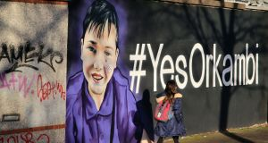 Orkambi graffiti on Charlemont Place at the side of the Grand Canal in Dublin. Photograph: Nick Bradshaw/The Irish Times