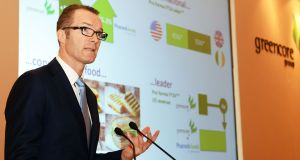 Patrick Coveney, chief executive, addressing shareholders at the Greencore Group 2016 EGM in Dublin. Photograph: Eric Luke / The Irish Times