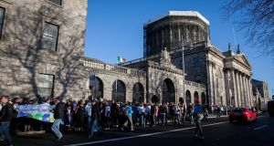 Home Sweet Home supporters outside the High Court in Dublin on Wednesday. Photograph: Gareth Chaney Collins