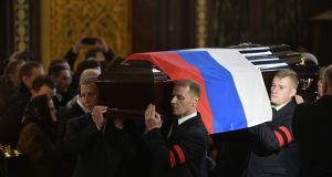 Pallbearers carry the casket of  Andrei Karlov during the funeral ceremony at the Christ the Saviour Cathedral in Moscow on Thursday. Photograph: Alexander Nemenoval/AFP/Getty Images