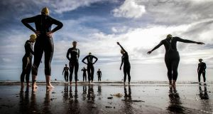 Pulse Port Beach Sprint Triathlon, Port Beach, Co Louth:  competitors gather for the start of the Women's  race. Photograph: ©INPHO/Ryan Byrne