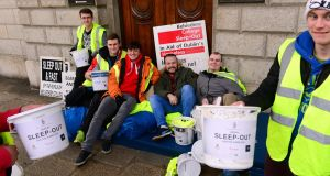 Belvedere College students and past pupils during the school's annual sleepout at the GPO, Dublin. File photograph: Cyril Byrne/The Irish Times