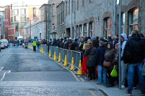 Queues for Christmas food parcels at the Capuchin Centre in Dublin. Photograph:  Nick Bradshaw