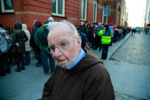 Brother Kevin Crowley at the Capuchin Centre where about 3,000 parcels were given out to the homeless and poor. Photograph: Nick Bradshaw