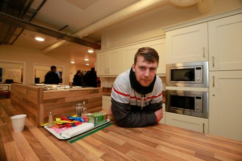 Robert Moffatt in the kitchen at the Peter McVerry Trust hostel at Ellis Quay, Dublin. Photograph: Nick Bradshaw