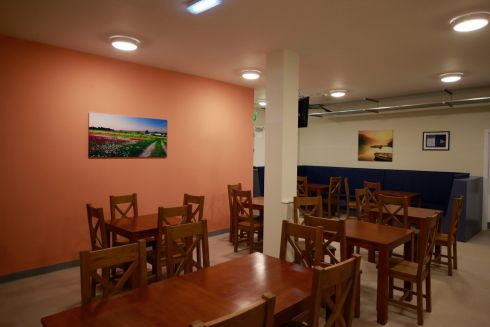 Dining room at the Peter McVerry Trust hostel at Ellis Quay, Dublin. Photograph: Nick Bradshaw