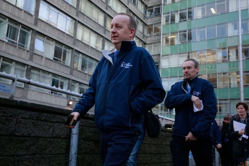 Representatives of the Peter McVerry Trust arriving at Apollo House. Photograph: Nick Bradshaw