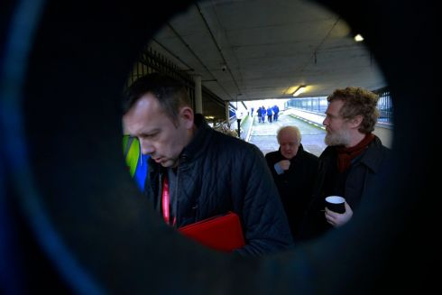 Members of Home Sweet Home Brendan Ogle, Jim Sheridan and Glen Hansard at Apollo House. Photograph: Nick Bradshaw