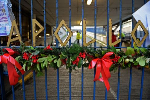 Christmas decorations at the entrance to Apollo House, Poolbeg Street, Dublin, where homelessness activists and homeless people continue to occupy the building. Photograph: Eric Luke