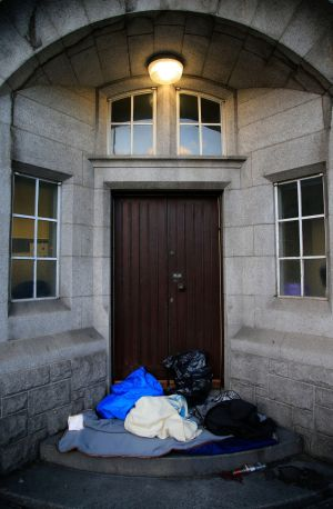 Bedding and clothing from a rough sleeper in a doorway at Pearse Street Garda station. Photograph: Nick Bradshaw