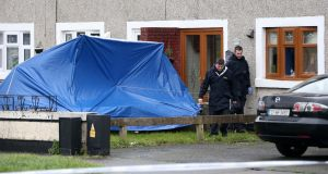 Gardaí at the scene of a shooting in the Ronanstown area of west Dublin.  Photograph: Colin Keegan/Collins Dublin.