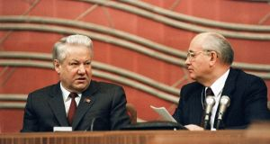Russian Federation president Boris Yeltsin and Soviet president Mikhail Gorbachev at the Congress of People's Deputies of the USSR in Moscow on December 17th, 1990. File photograph: Vitaly Armand/AFP/Getty Images