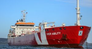 The Iver Ability in Dublin Bay, where it is anchored with a crew of 13. Photograph: David O'Brien/Afloat