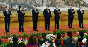 The 2012  politburo standing committee of the Communist Party at the Great Hall of the People in Beijing. China is home to one in five of the world's women, but a woman has never joined the political elite on the dais. Photograph: Kyodo News via Getty Images