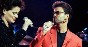Seven years before coming out, George Michael performed with Lisa Stansfield at the Freddie Mercury Tribute Concert for Aids Awareness, at Wembley Stadium on April 20th, 1992. Photograph: Reuters/Dylan Martinez