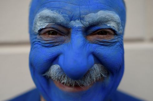 John Walker poses for a photograph in costume. Photograph: Clodagh Kilcoyne/Reuters