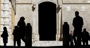The main entrance of the Monte dei Paschi bank headquarters. Photograph: Max Rossi/File photo/Reuters