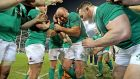 Rory Best congratulated by team-mates on his 100th cap after Ireland beat Australia at the Aviva Stadium. Photograph: Morgan Treacy/Inpho