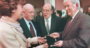 Anthony Cronin (second right) with the then president Mary  McAleese,  Nobel Laureate Seamus Heaney (right) and Benedict Kiely pictured at the  Arts Council offices in Merrion Sqaure in 1998. Photograph: Matt Kavanagh.