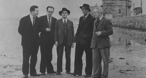 John Ryan, Anthony Cronin, Brian O'Nolan, Patrick Kavanagh and Tom Joyce on Sandymount Strand in Dublin for the first Bloomsday in 1954.