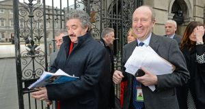John Halligan (left) and Shane Ross of the Independent Alliance outside  Leinster House. Photograph: Eric Luke