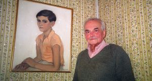 Michel Déon with a portrait of himself in his home in Co Galway. In 'La Chambre de Ton Pere', Déon recounted how the portrait was painted. Photograph: Lara Marlowe