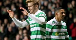 Celtic's Stuart Armstrong celebrates scoring his side's second goal during the Scottish Premiership match at Celtic Park, Glasgow. Photograph: Jane Barlow/PA