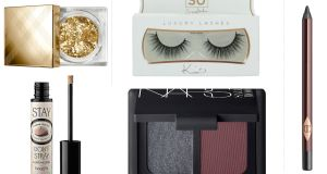 Tom Ford eye defining pen (€54); Charlotte Tilbury Rock 'N' Kohl Bedroom Black (€25); Benefit's Stay Don't Stray eyeshadow primer (€28.50); SoSue Luxury Lashes (€19.95) SoSue Throwaway lashes (€5.95); Nars Sarah Moon Eyeshadow Duo in Indes Galante (€36); Burberry Shimmer Dust in Gold Glitter (€24)
