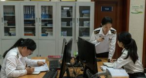 The offices of the Zhengzhou customs operation inside a so-called bonded zone. Photograph: The New York Times