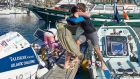 Gavan Hennigan hugs  his sister before setting off in the Talisker Whisky Atlantic Challenge from the Canaries to Antigua.  Photograph:  Ben Duffy/PA