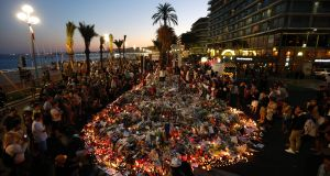 People gathering at a makeshift memorial on the Promenade des Anglais in Nice on July 17th in tribute to the victims of the Bastille Day attack that left 84 dead. FIle photograph: Valery Hache/AFP/Getty Images