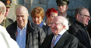 Colm Tóibín and President Michael D Higgins in attendance of the funeral of Anthony Cronin. Photograph: Nick Bradshaw