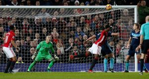 Manchester United's Paul Pogba scores their second goal as Middlesbrough's Victor Valdes looks on. Photo: Andrew Yates/Reuters